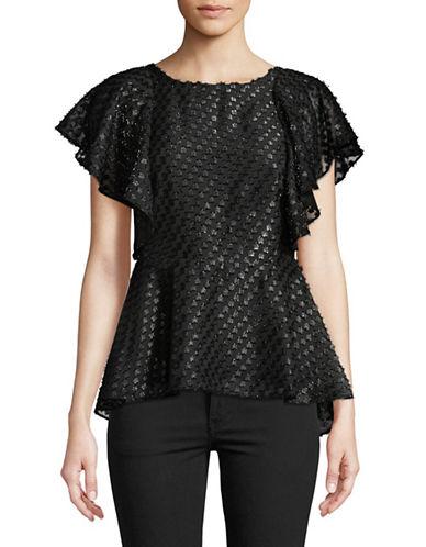 Imnyc Isaac Mizrahi Textured Peplum Top-BLACK-12