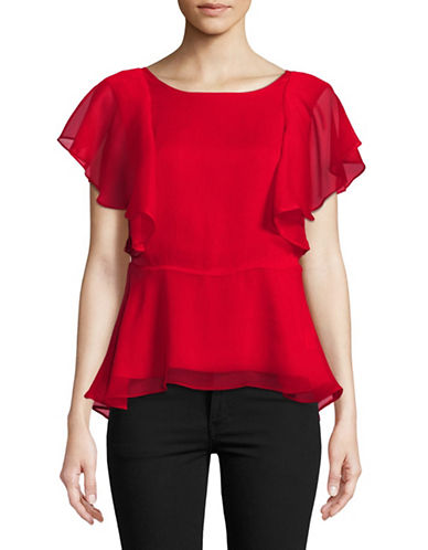 Imnyc Isaac Mizrahi Flutter Sleeved Peplum Top-RUBY RED-14