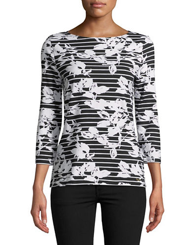 Imnyc Isaac Mizrahi Striped Boat neck Top-BLACK/WHITE-X-Small