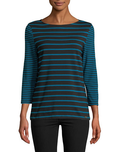 Imnyc Isaac Mizrahi Three Quarter Sleeve Boat Neck Tee-GREEN-X-Small