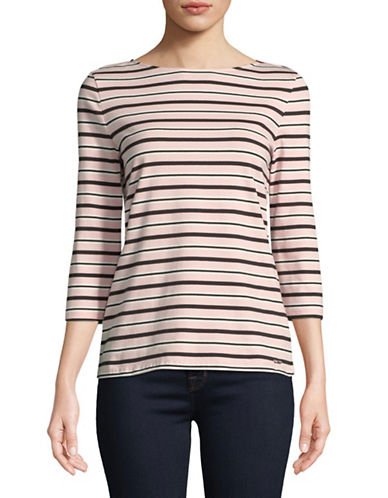 Imnyc Isaac Mizrahi Striped Boat neck Top-PINK-Large