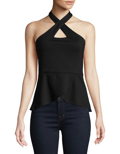 H Halston Crossneck Peplum Top-BLACK-X-Large