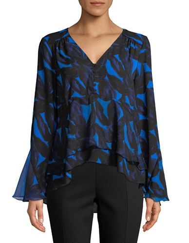 H Halston Mixed Media Leaf Flutter Top-BLUE/BLACK-X-Large