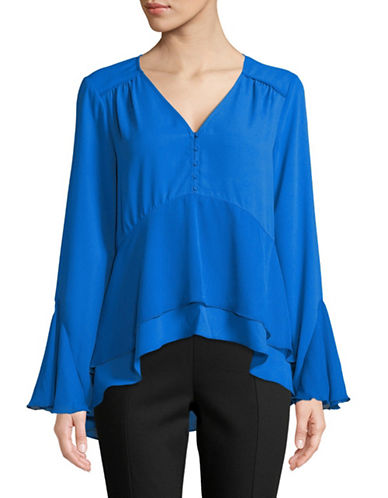 H Halston Mixed Media Flutter Top-BLUE-Small