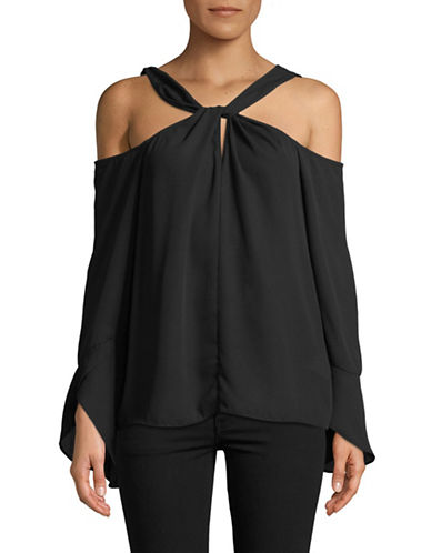 H Halston Twist Cold-Shoulder Blouse-BLACK-X-Small