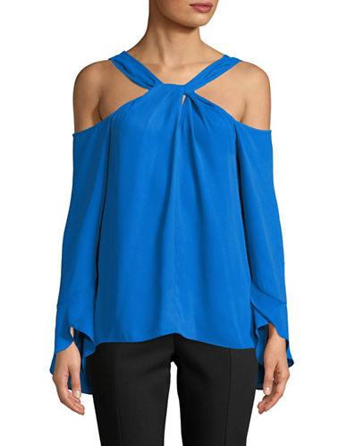 H Halston Twist Cold-Shoulder Blouse-BLUE-X-Large