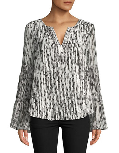 H Halston Pleated Bell-Sleeve Blouse-IVORY-Small