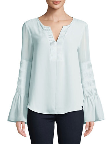 H Halston Pleated Bell-Sleeve Blouse-LIGHT BLUE-Large