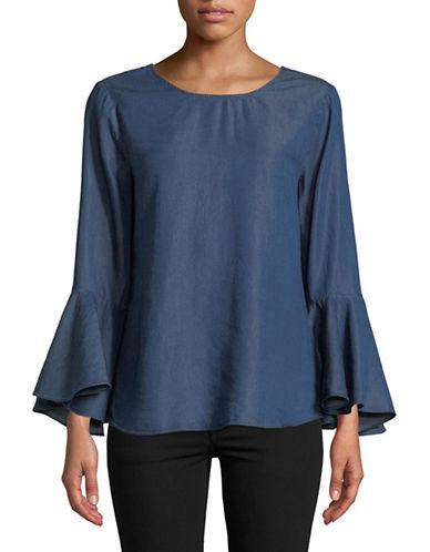H Halston Flounce-Sleeve Blouse-BLUE-Small