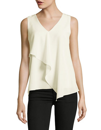 H Halston Sleeveless Drape Front Top-WHITE-X-Large