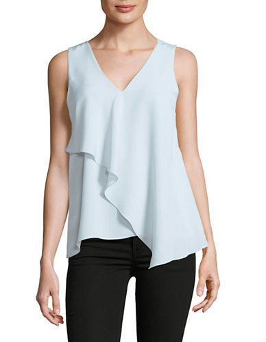 H Halston Sleeveless Drape Front Top-LIGHT BLUE-Small