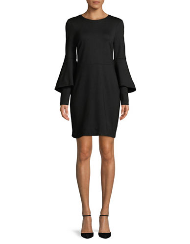 H Halston Trumpet-Sleeve Sheath Dress-BLACK-Small