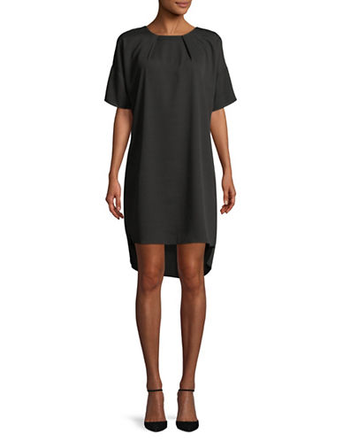 H Halston Hi-Lo Cocoon Shift Dress-BLACK-Large