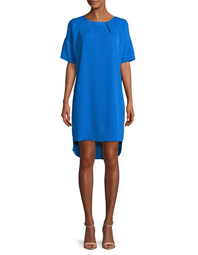 H Halston Hi-Lo Cocoon Shift Dress-BLUE-Large