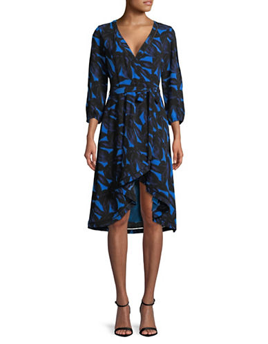H Halston Split-Sleeve Wrap Dress-BLUE-Large
