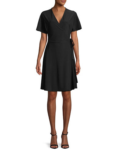 H Halston Short-Sleeve Wrap Dress-BLACK-Small