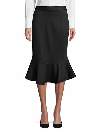 H Halston Zip Flounce Hi-Lo Skirt-BLACK-Medium