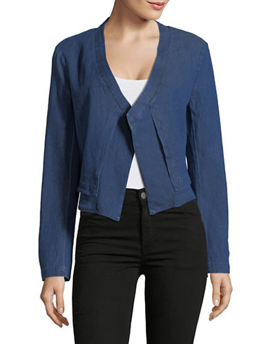 H Halston Layered Open-Front Jacket-BLUE-Medium