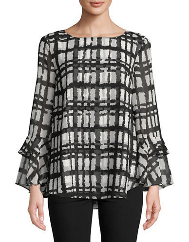 Imnyc Isaac Mizrahi Tiered Bell Sleeve Blouse-BLACK PLAID-X-Large