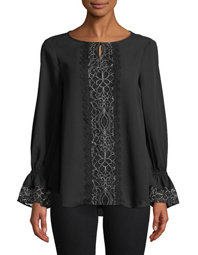 Imnyc Isaac Mizrahi Bateau Neck Keyhole Long-Sleeve Top-BLACK-Small