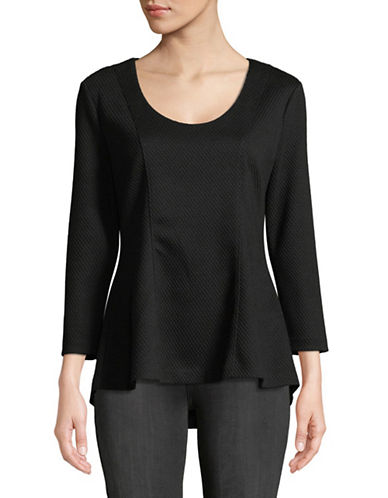 Imnyc Isaac Mizrahi Textured Hi-Lo Flare Hem Top-BLACK-Small
