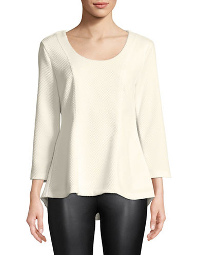Imnyc Isaac Mizrahi Textured Hi-Lo Flare Hem Top-CHALK-Medium