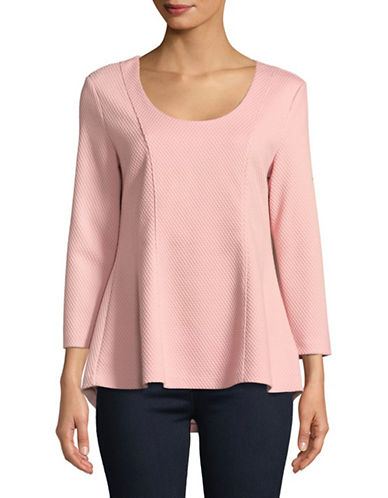Imnyc Isaac Mizrahi Textured Hi-Lo Flare Hem Top-POWDER PINK-Large