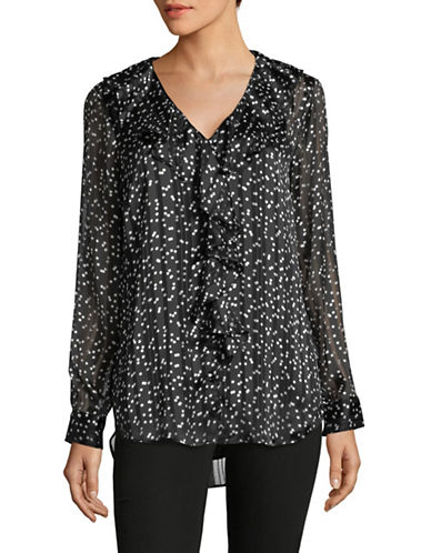Imnyc Isaac Mizrahi V-Neck Ruffle-Sleeve Blouse-BLACK-Medium