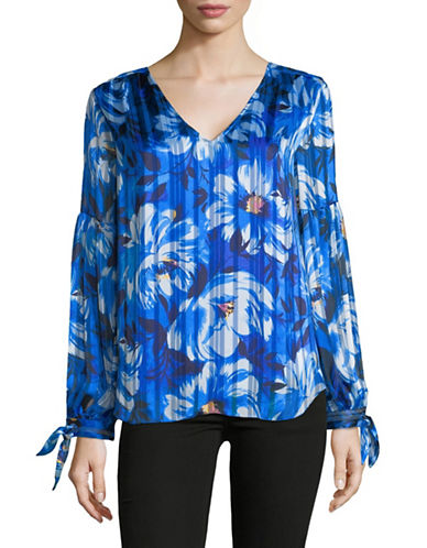 Imnyc Isaac Mizrahi V-Neck Floral Blouse-BLUE-Small