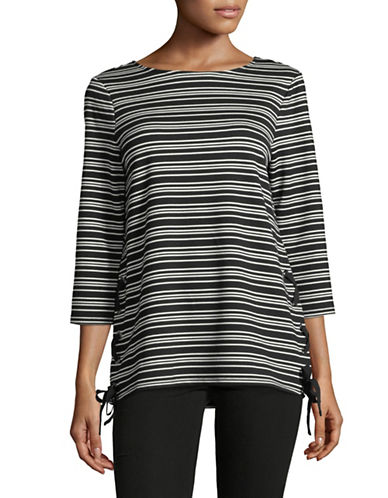 Imnyc Isaac Mizrahi Striped Lace-Up Tunic-BLACK STRIPE-X-Large