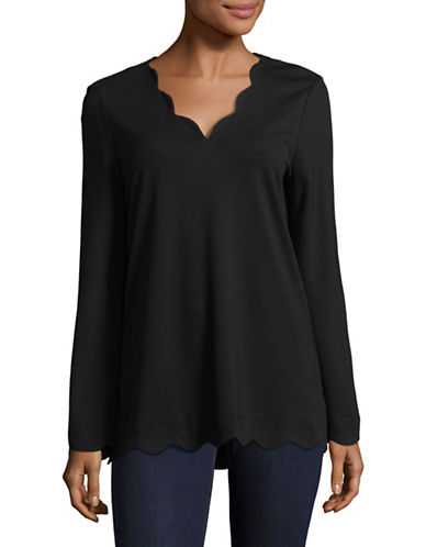 Imnyc Isaac Mizrahi V-Neck Long-Sleeve Scallop Top-BLACK-Large