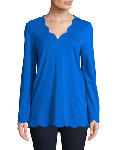 Imnyc Isaac Mizrahi V-Neck Long-Sleeve Scallop Top-SAPPHIRE-Large