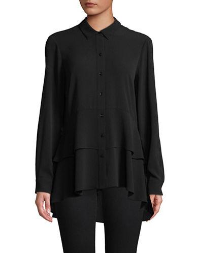 Imnyc Isaac Mizrahi Peplum Button-Down Shirt-BLACK-X-Large
