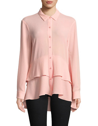 Imnyc Isaac Mizrahi Peplum Button-Down Shirt-POWDER PINK-Small