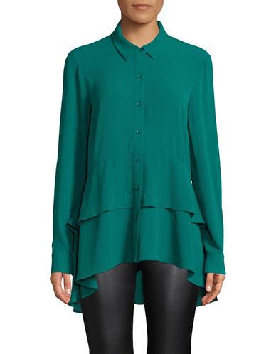 Imnyc Isaac Mizrahi Peplum Button-Down Shirt-GREEN-X-Large