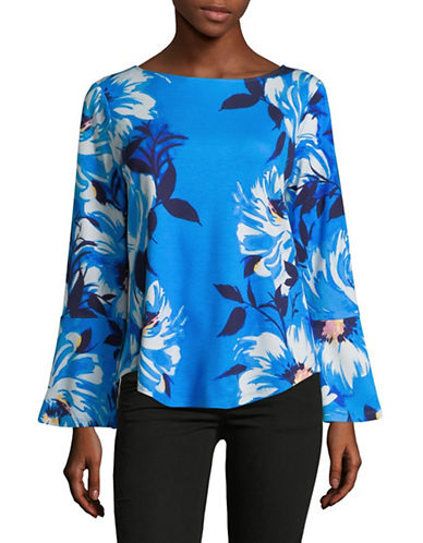 Imnyc Isaac Mizrahi Boat Neck Long-Sleeve Flounce Top-BLUE-X-Small
