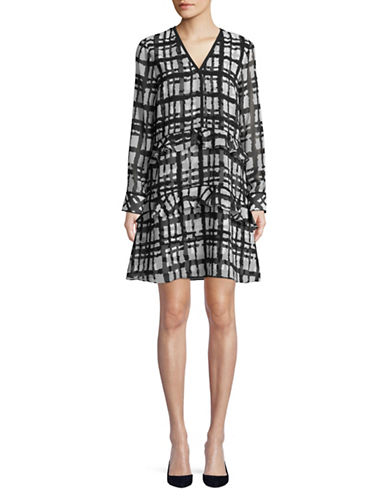 Imnyc Isaac Mizrahi Long Sleeve V-Neck A-Line Ruffle Dress-BLACK PLAID-Large
