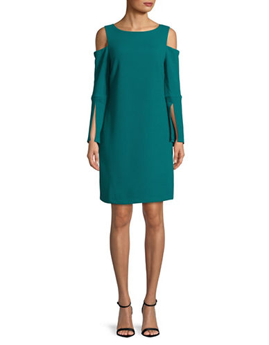 Imnyc Isaac Mizrahi Boat Neck Cold-Shoulder Dress-TEAL GREEN-X-Large