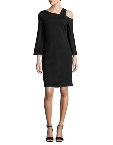 Imnyc Isaac Mizrahi Asymmetrical Neck Dress-BLACK-Large