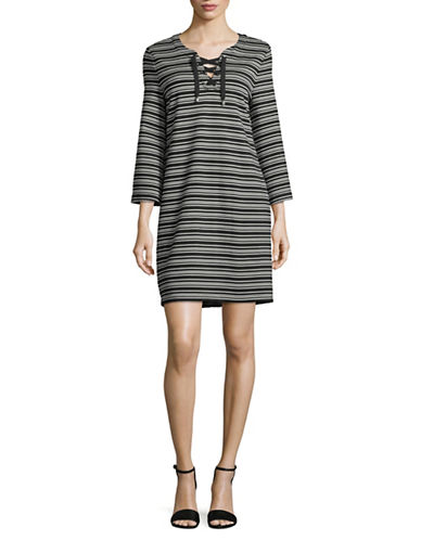 Imnyc Isaac Mizrahi Striped Lace-Up Neck Shift Dress-GREY/BLACK-X-Large