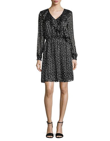 Imnyc Isaac Mizrahi V-Neck Ruffle-Sleeve Dress-BLACK-X-Large