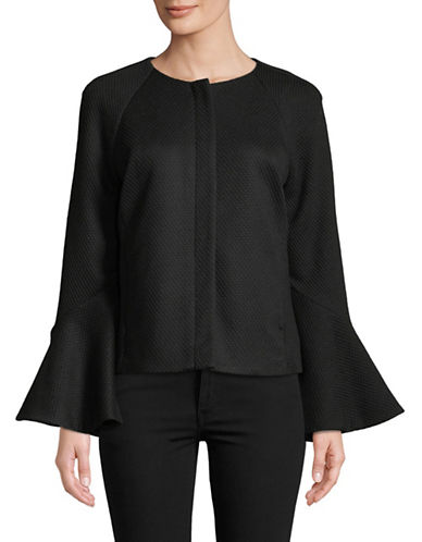 Imnyc Isaac Mizrahi Zip Front Tier-Sleeve Short Jacket-BLACK-Large