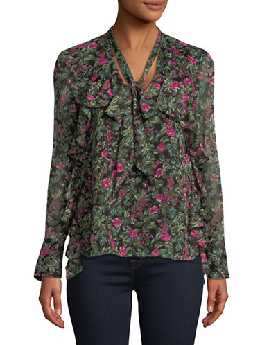 Highline Collective Bow Tie Flounce Blouse-GREEN-Small