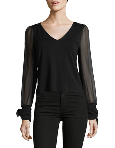 Highline Collective Faux Wrap Cuffs Top-BLACK-Large
