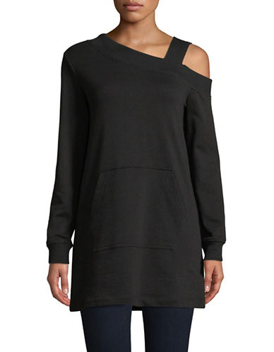 Highline Collective Asymmetrical Cotton Sweatshirt-BLACK-X-Large