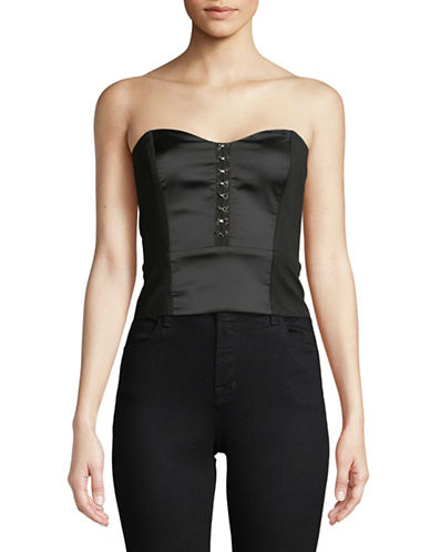 Highline Collective Strapless Bustier Crop Top With Metal Hook And Eye Detail-BLACK-X-Small