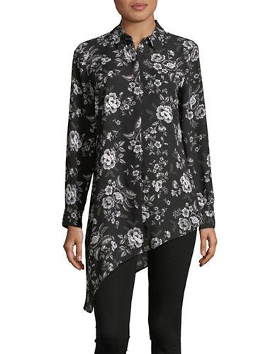 Imnyc Isaac Mizrahi Floral Asymmetrical Button-Down Shirt-BLACK-X-Small