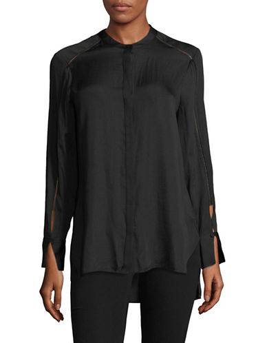 H Halston Split Cuff Shirt-BLACK-Small