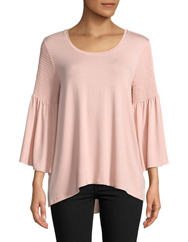 Imnyc Isaac Mizrahi Smocked Three-Quarter Sleeve Top-POWDER PINK-X-Small