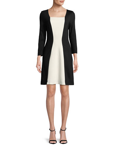 Imnyc Isaac Mizrahi Three-Quarter Sleeve A-Line Dress-BLACK-X-Large